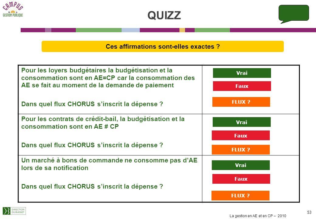 La gestion en AE et en CP – 2010 52 La décision dattribution dune allocation temporaire dinvalidité (ATI) consomme lenveloppe dAE à hauteur du montant