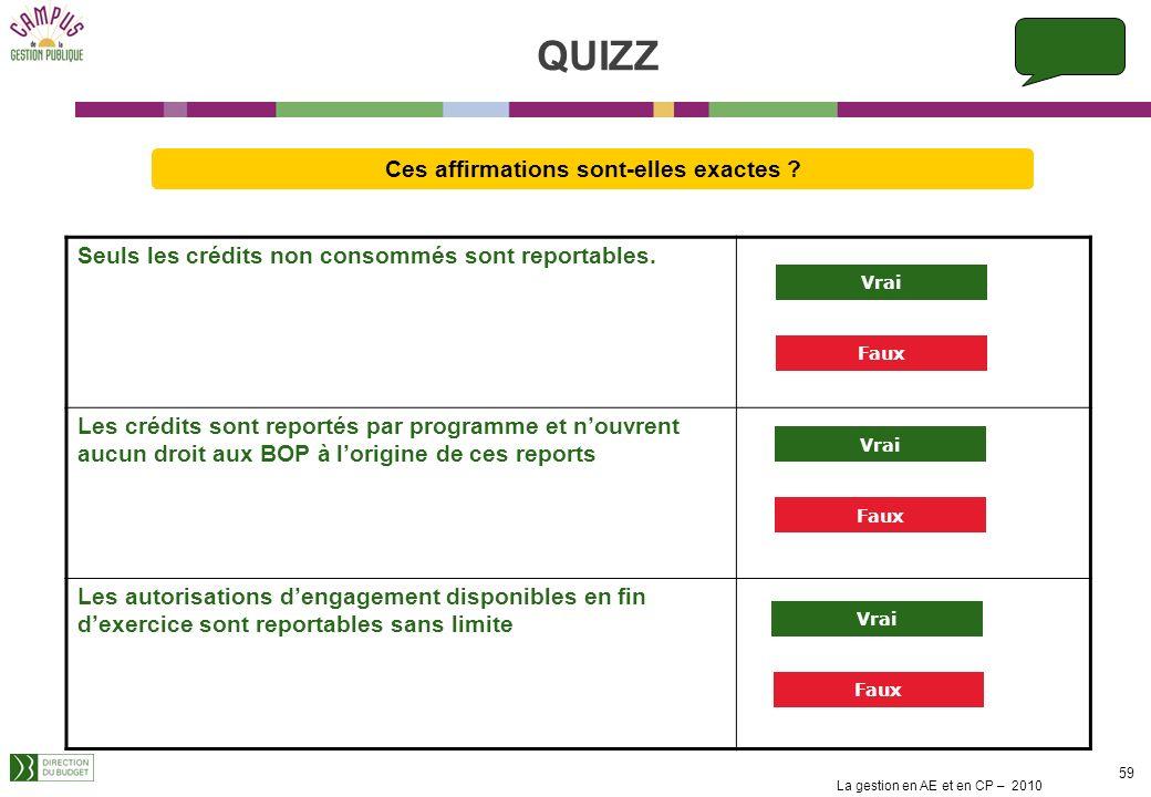 La gestion en AE et en CP – 2010 58 Les règles de consommation des AE/CP comme les règles de report permettent de définir différents scenarii pour la