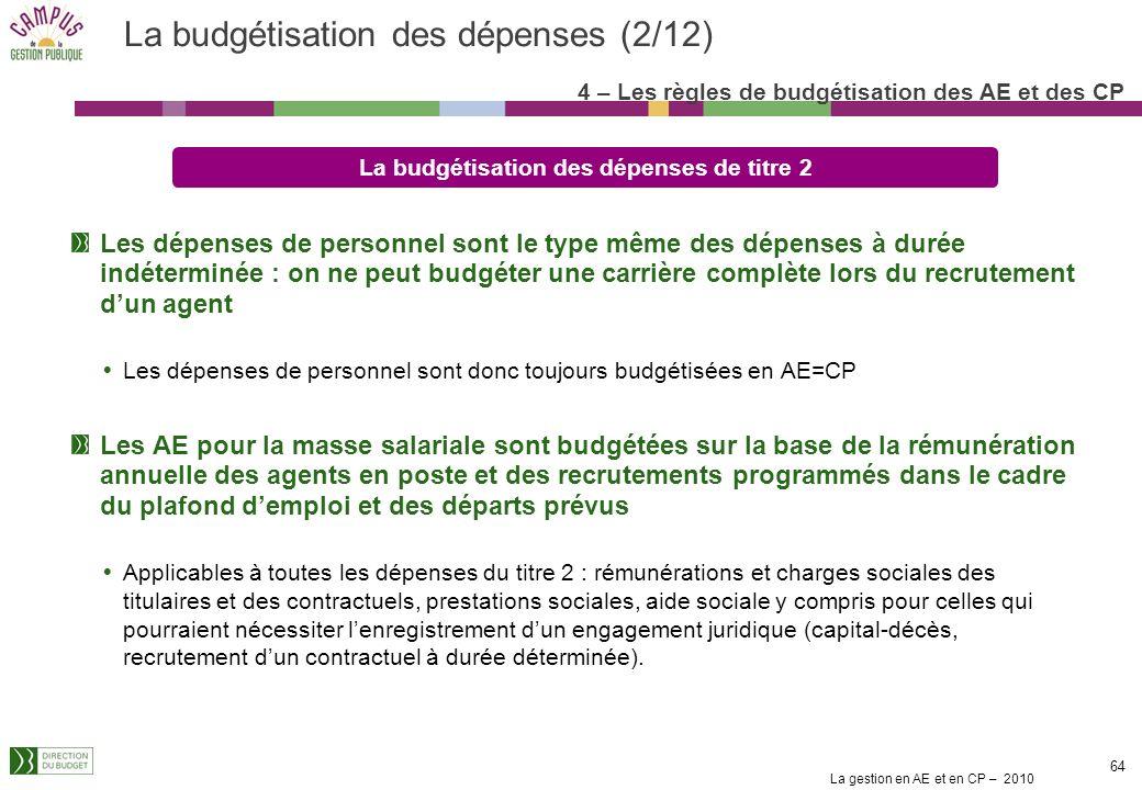La gestion en AE et en CP – 2010 63 4 – Les règles de budgétisation des AE et des CP Quel engagement ferme de lEtat ? Engagement de durée déterminée E