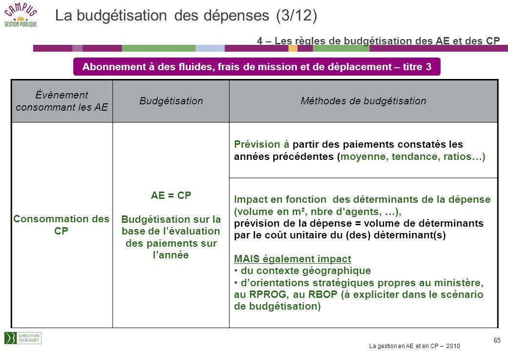 La gestion en AE et en CP – 2010 64 Les dépenses de personnel sont le type même des dépenses à durée indéterminée : on ne peut budgéter une carrière c