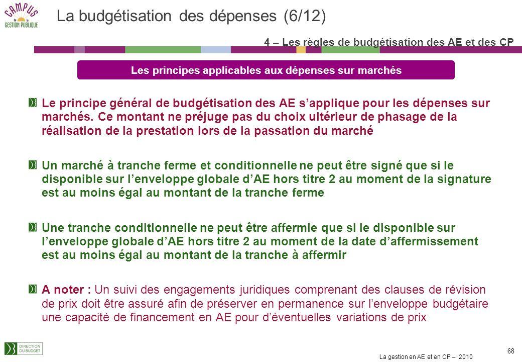 La gestion en AE et en CP – 2010 68 Le principe général de budgétisation des AE sapplique pour les dépenses sur marchés.