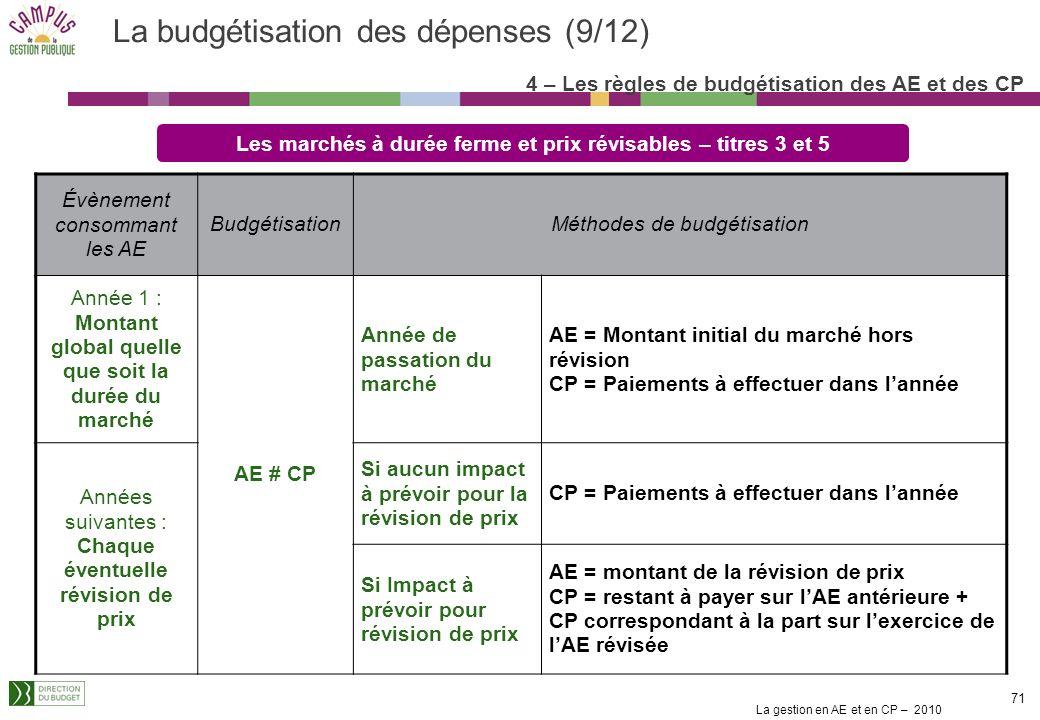 La gestion en AE et en CP – 2010 70 La budgétisation des dépenses (8/12) Les marchés ordinaires reconductibles annuellement – titres 3 et 5 Évènement