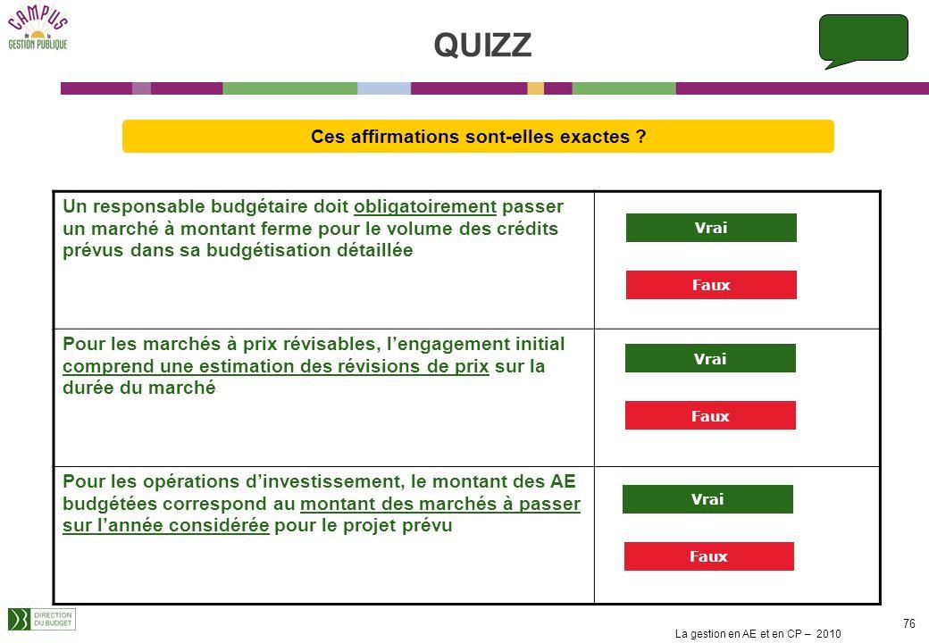 La gestion en AE et en CP – 2010 75 La budgétisation en AE et en CP traduit le scénario de gestion du responsable budgétaire Pour budgéter en AE et en