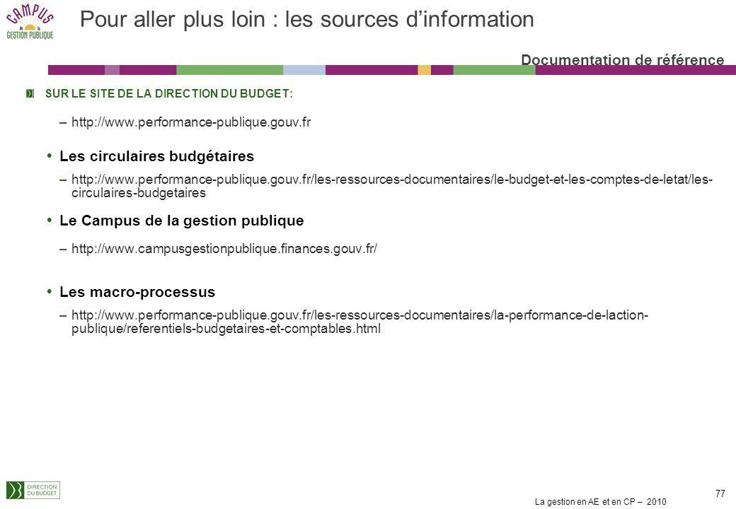 La gestion en AE et en CP – 2010 77 Pour aller plus loin : les sources dinformation Documentation de référence SUR LE SITE DE LA DIRECTION DU BUDGET: –http://www.performance-publique.gouv.fr Les circulaires budgétaires –http://www.performance-publique.gouv.fr/les-ressources-documentaires/le-budget-et-les-comptes-de-letat/les- circulaires-budgetaires Le Campus de la gestion publique –http://www.campusgestionpublique.finances.gouv.fr/ Les macro-processus –http://www.performance-publique.gouv.fr/les-ressources-documentaires/la-performance-de-laction- publique/referentiels-budgetaires-et-comptables.html