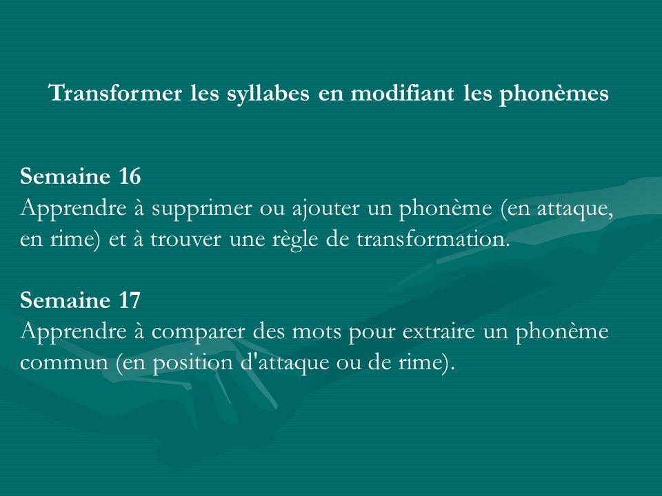 Transformer les syllabes en modifiant les phonèmes Semaine 16 Apprendre à supprimer ou ajouter un phonème (en attaque, en rime) et à trouver une règle