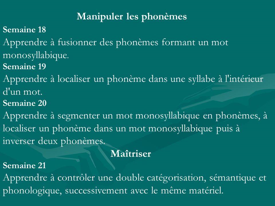 Manipuler les phonèmes Semaine 18 Apprendre à fusionner des phonèmes formant un mot monosyllabique. Semaine 19 Apprendre à localiser un phonème dans u