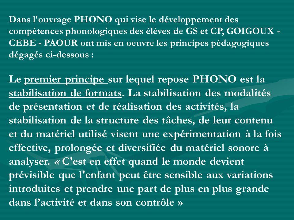 Dans l'ouvrage PHONO qui vise le développement des compétences phonologiques des élèves de GS et CP, GOIGOUX - CEBE - PAOUR ont mis en oeuvre les prin