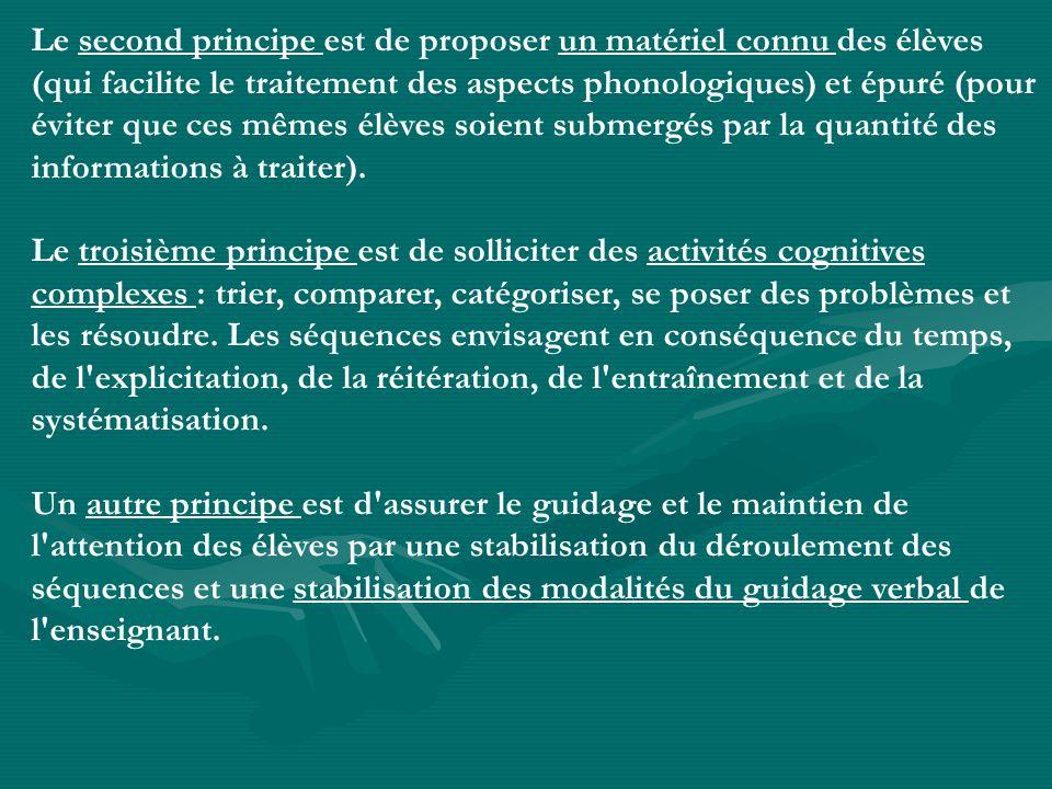 Le second principe est de proposer un matériel connu des élèves (qui facilite le traitement des aspects phonologiques) et épuré (pour éviter que ces m