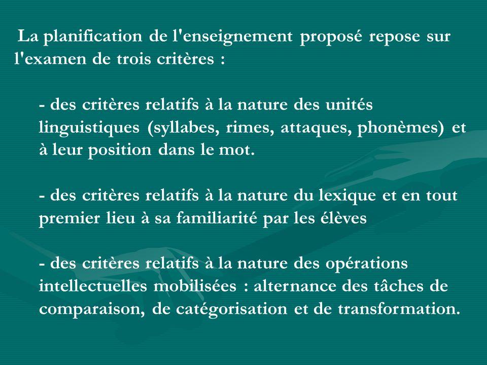 La planification de l'enseignement proposé repose sur l'examen de trois critères : - des critères relatifs à la nature des unités linguistiques (sylla