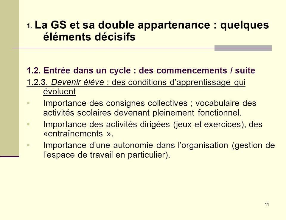 11 1. La GS et sa double appartenance : quelques éléments décisifs 1.2. Entrée dans un cycle : des commencements / suite 1.2.3. Devenir élève : des co