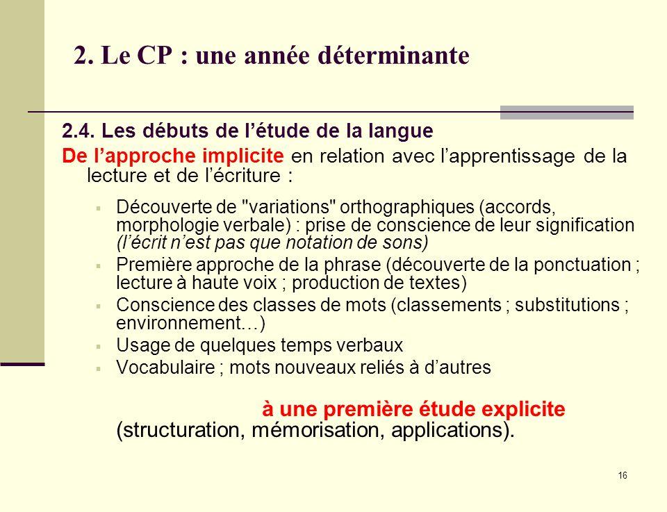 16 2. Le CP : une année déterminante 2.4. Les débuts de létude de la langue De lapproche implicite en relation avec lapprentissage de la lecture et de