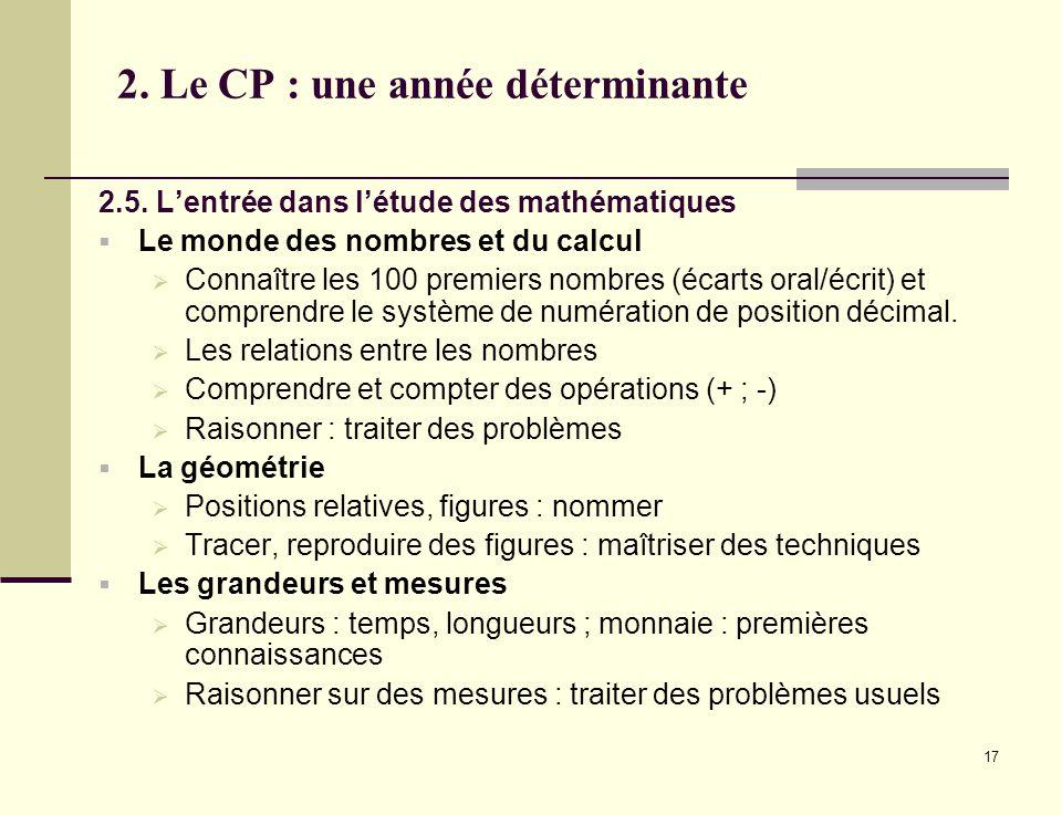 17 2. Le CP : une année déterminante 2.5. Lentrée dans létude des mathématiques Le monde des nombres et du calcul Connaître les 100 premiers nombres (