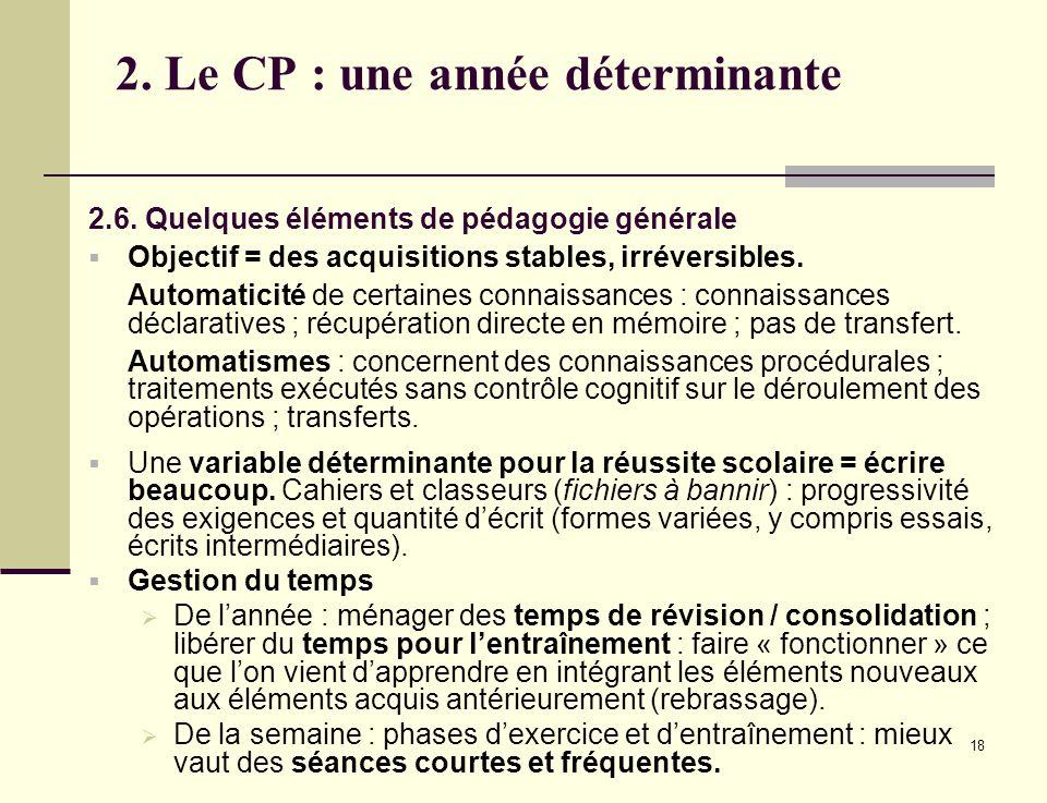 18 2. Le CP : une année déterminante 2.6. Quelques éléments de pédagogie générale Objectif = des acquisitions stables, irréversibles. Automaticité de