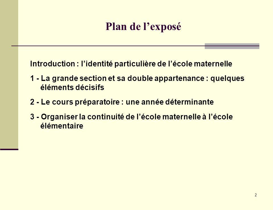 2 Plan de lexposé Introduction : lidentité particulière de lécole maternelle 1 - La grande section et sa double appartenance : quelques éléments décis