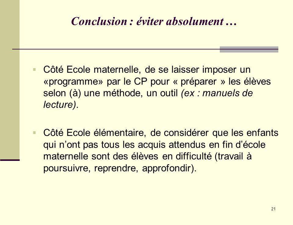 21 Conclusion : éviter absolument … Côté Ecole maternelle, de se laisser imposer un «programme» par le CP pour « préparer » les élèves selon (à) une m