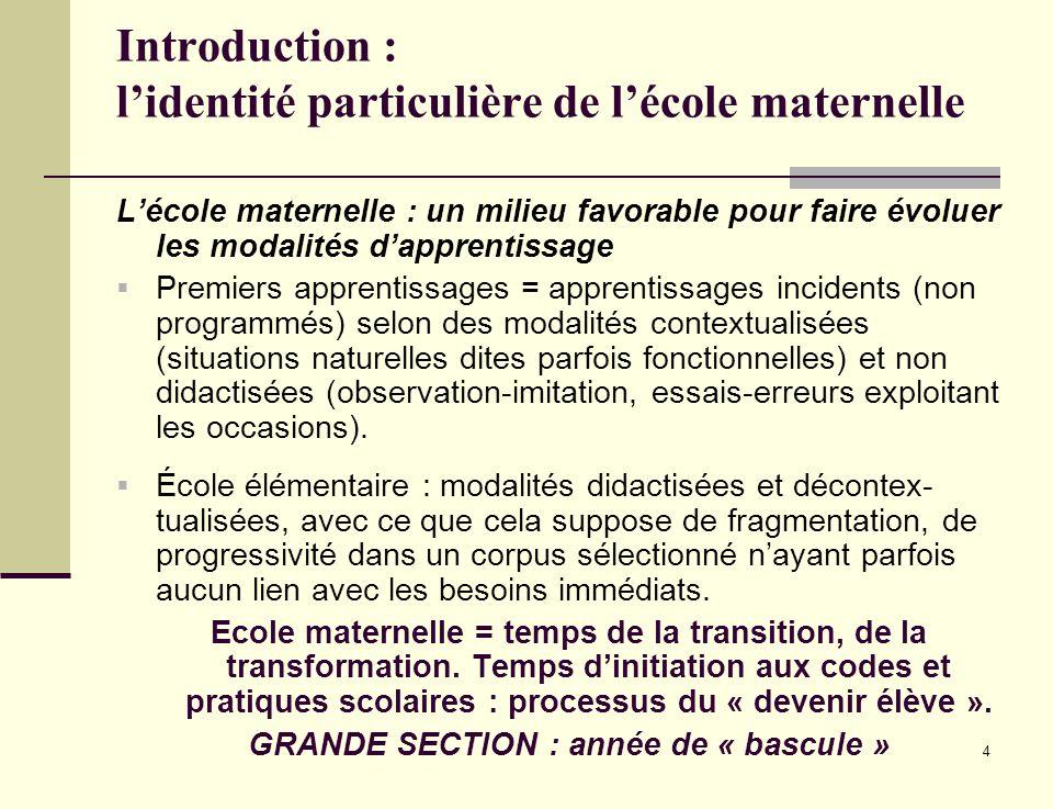 4 Introduction : lidentité particulière de lécole maternelle Lécole maternelle : un milieu favorable pour faire évoluer les modalités dapprentissage P