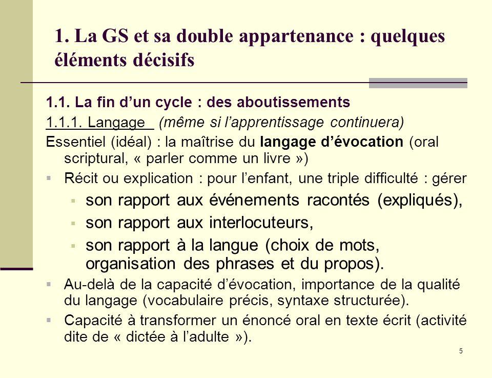5 1. La GS et sa double appartenance : quelques éléments décisifs 1.1. La fin dun cycle : des aboutissements 1.1.1. Langage (même si lapprentissage co