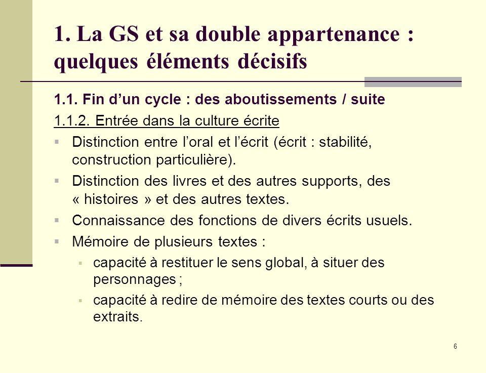 6 1. La GS et sa double appartenance : quelques éléments décisifs 1.1. Fin dun cycle : des aboutissements / suite 1.1.2. Entrée dans la culture écrite