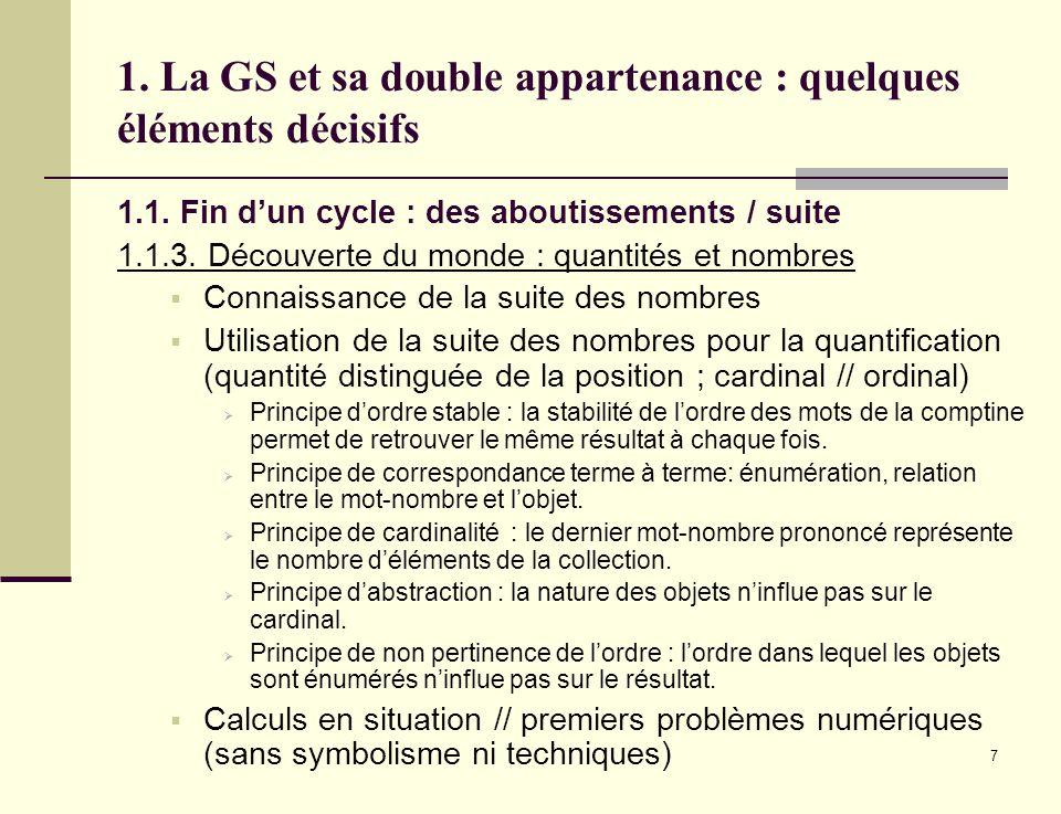 7 1. La GS et sa double appartenance : quelques éléments décisifs 1.1. Fin dun cycle : des aboutissements / suite 1.1.3. Découverte du monde : quantit