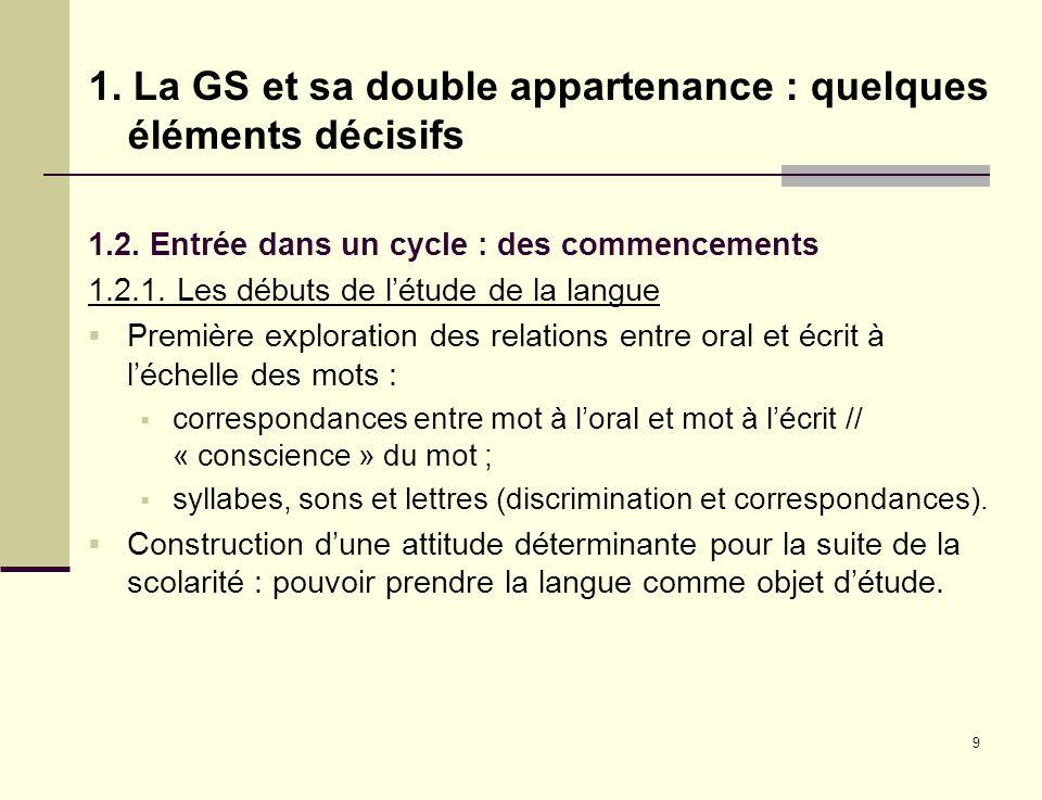 9 1. La GS et sa double appartenance : quelques éléments décisifs 1.2. Entrée dans un cycle : des commencements 1.2.1. Les débuts de létude de la lang