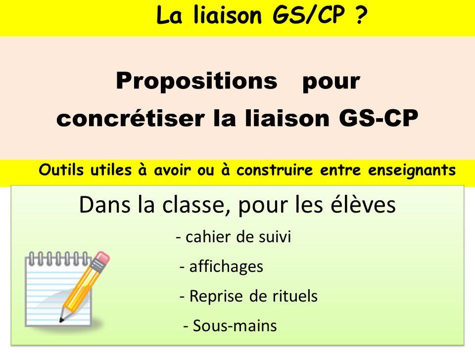 Propositions pour concrétiser la liaison GS-CP Outils utiles à avoir ou à construire entre enseignants - cahier de suivi La liaison GS/CP ? - affichag