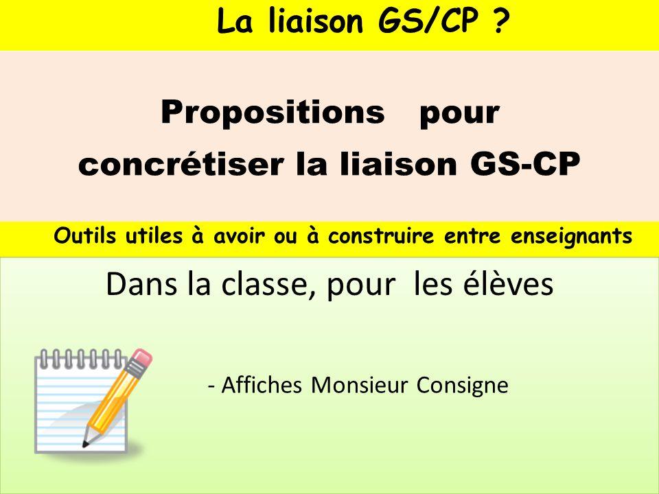 La liaison GS/CP ? Propositions pour concrétiser la liaison GS-CP Outils utiles à avoir ou à construire entre enseignants - Affiches Monsieur Consigne