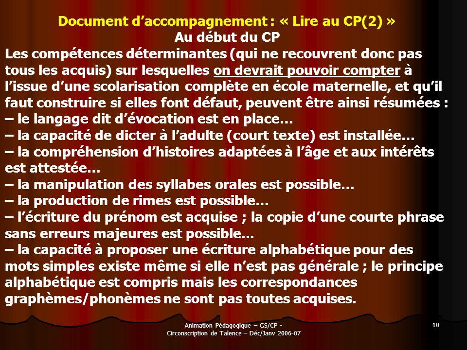 Animation Pédagogique – GS/CP - Circonscription de Talence – Déc/Janv 2006-07 10 Document daccompagnement : « Lire au CP(2) » Au début du CP Les compé