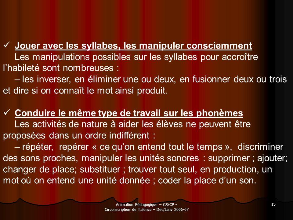 Animation Pédagogique – GS/CP - Circonscription de Talence – Déc/Janv 2006-07 15 Jouer avec les syllabes, les manipuler consciemment Les manipulations