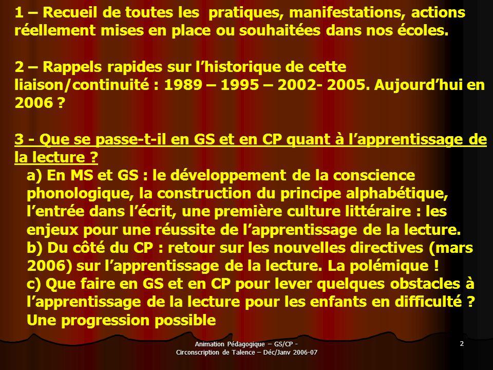 Animation Pédagogique – GS/CP - Circonscription de Talence – Déc/Janv 2006-07 2 1 – Recueil de toutes les pratiques, manifestations, actions réellemen