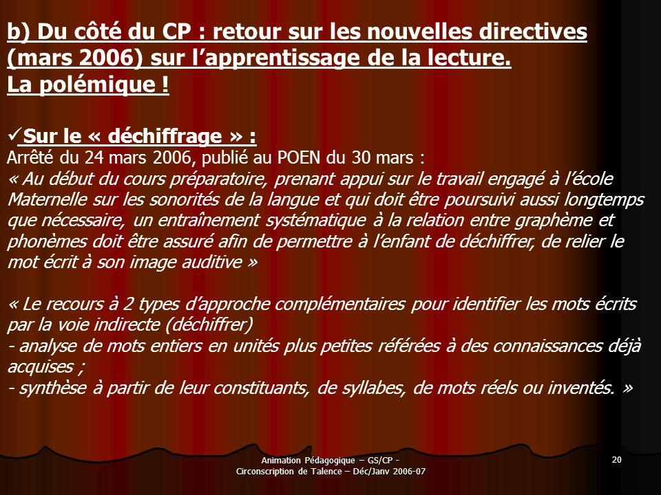 Animation Pédagogique – GS/CP - Circonscription de Talence – Déc/Janv 2006-07 20 b) Du côté du CP : retour sur les nouvelles directives (mars 2006) su