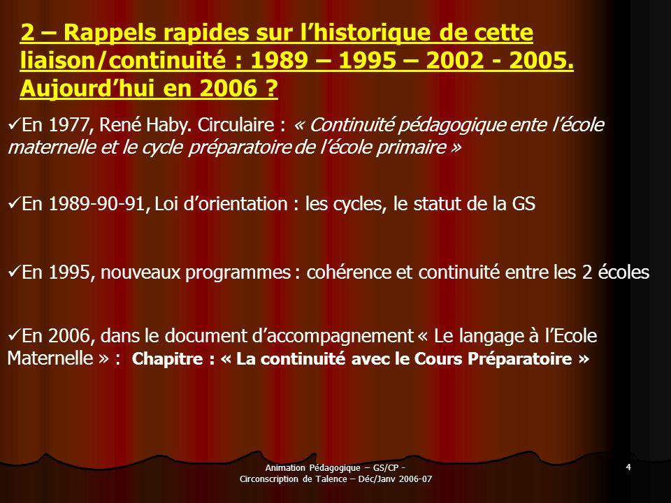 Animation Pédagogique – GS/CP - Circonscription de Talence – Déc/Janv 2006-07 4 2 – Rappels rapides sur lhistorique de cette liaison/continuité : 1989
