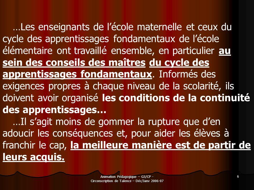 Animation Pédagogique – GS/CP - Circonscription de Talence – Déc/Janv 2006-07 6 …Les enseignants de lécole maternelle et ceux du cycle des apprentissa