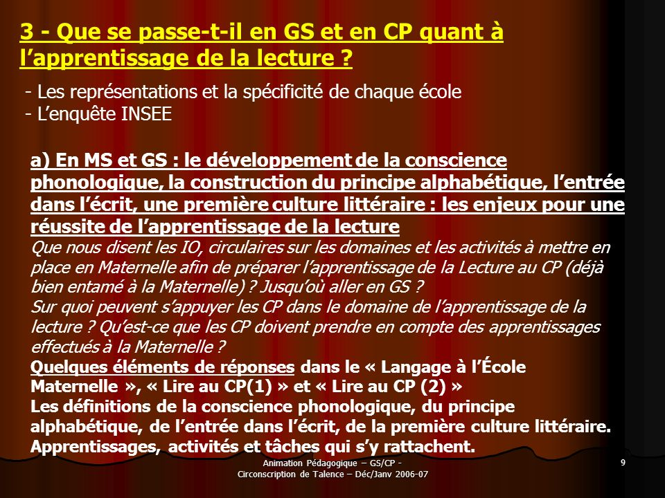 Animation Pédagogique – GS/CP - Circonscription de Talence – Déc/Janv 2006-07 9 3 - Que se passe-t-il en GS et en CP quant à lapprentissage de la lect