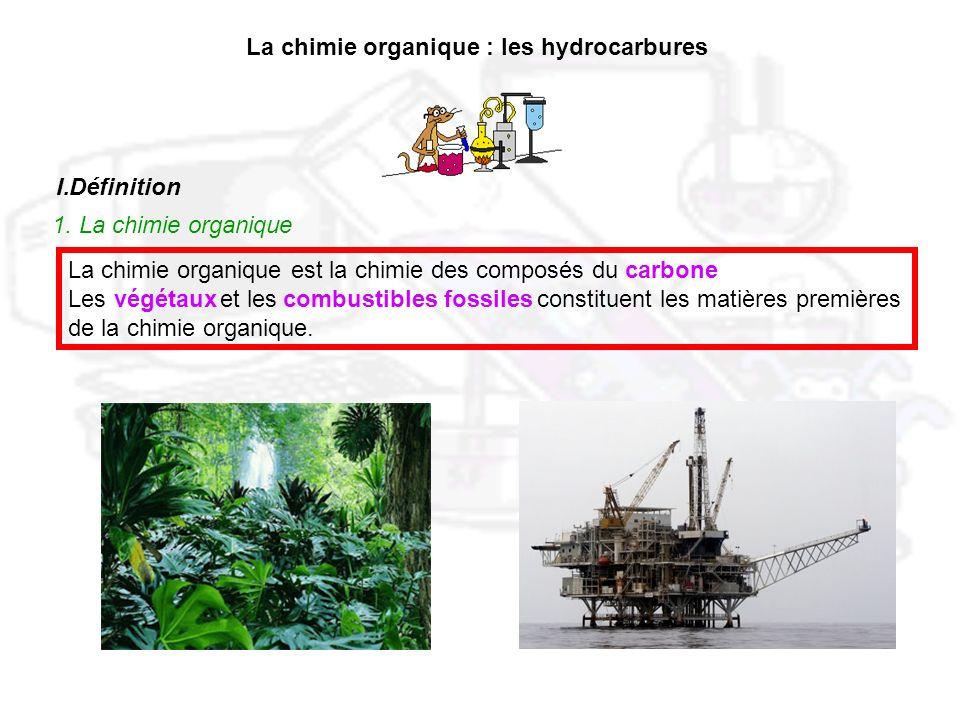 La chimie organique : les hydrocarbures I.Définition 1. La chimie organique La chimie organique est la chimie des composés du Les et les constituent l