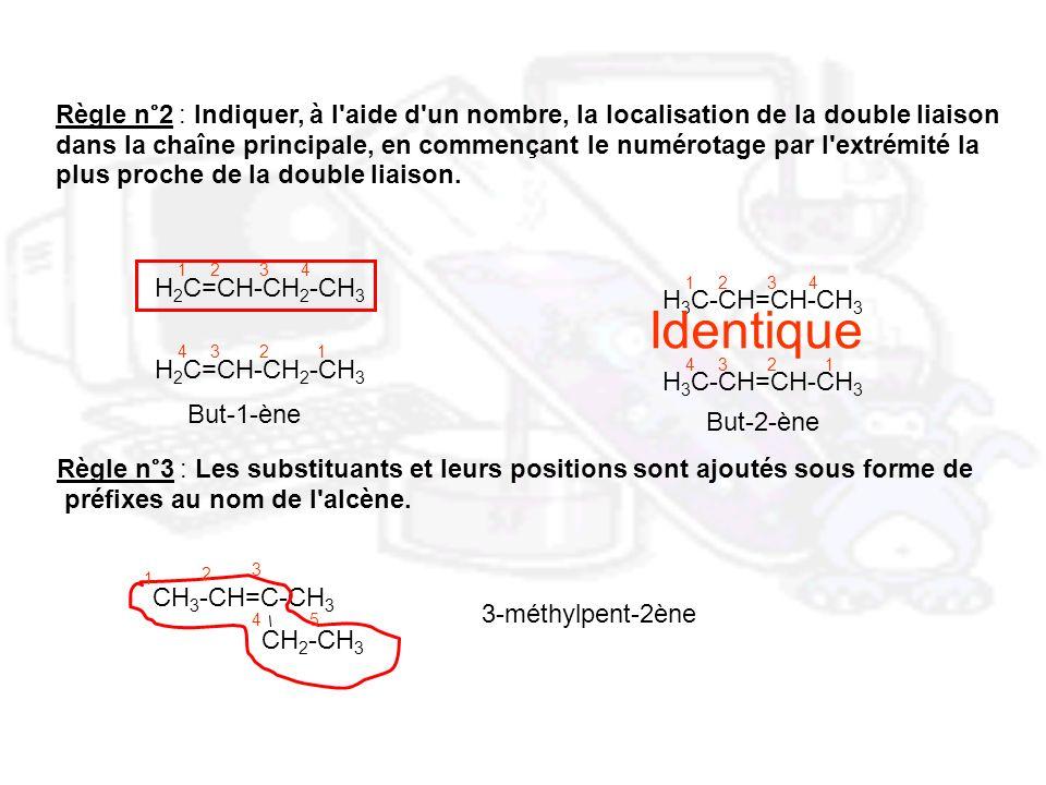Règle n°2 : Indiquer, à l'aide d'un nombre, la localisation de la double liaison dans la chaîne principale, en commençant le numérotage par l'extrémit