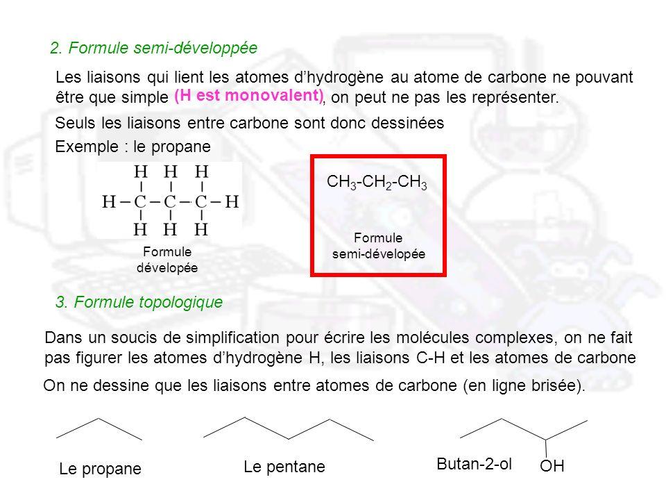 2. Formule semi-développée Les liaisons qui lient les atomes dhydrogène au atome de carbone ne pouvant être que simple, on peut ne pas les représenter