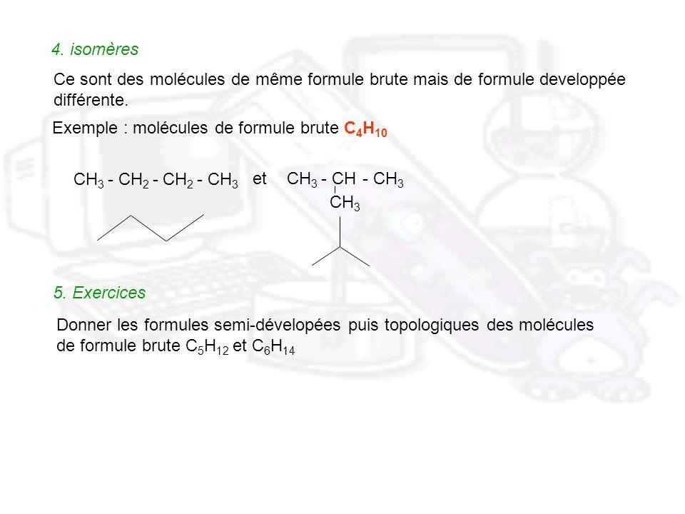 4. isomères Ce sont des molécules de même formule brute mais de formule developpée différente. Exemple : molécules de formule brute C 4 H 10 CH 3 - CH