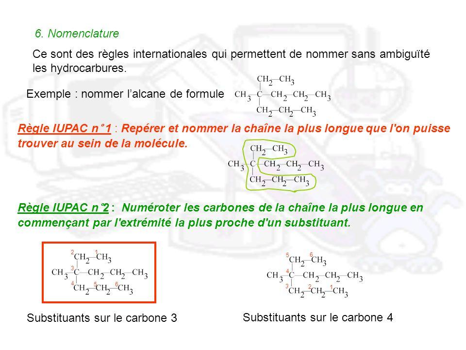 6. Nomenclature Ce sont des règles internationales qui permettent de nommer sans ambiguïté les hydrocarbures. Règle IUPAC n° 1 : Repérer et nommer la