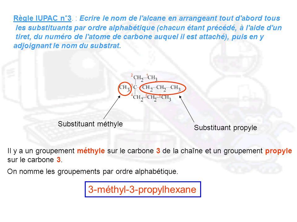 Règle IUPAC n°3. : Ecrire le nom de l'alcane en arrangeant tout d'abord tous les substituants par ordre alphabétique (chacun étant précédé, à l'aide d