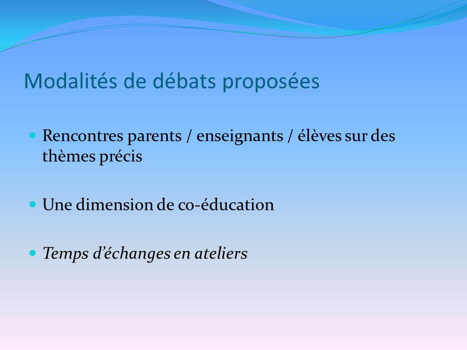Modalités de débats proposées Rencontres parents / enseignants / élèves sur des thèmes précis Une dimension de co-éducation Temps déchanges en ateliers
