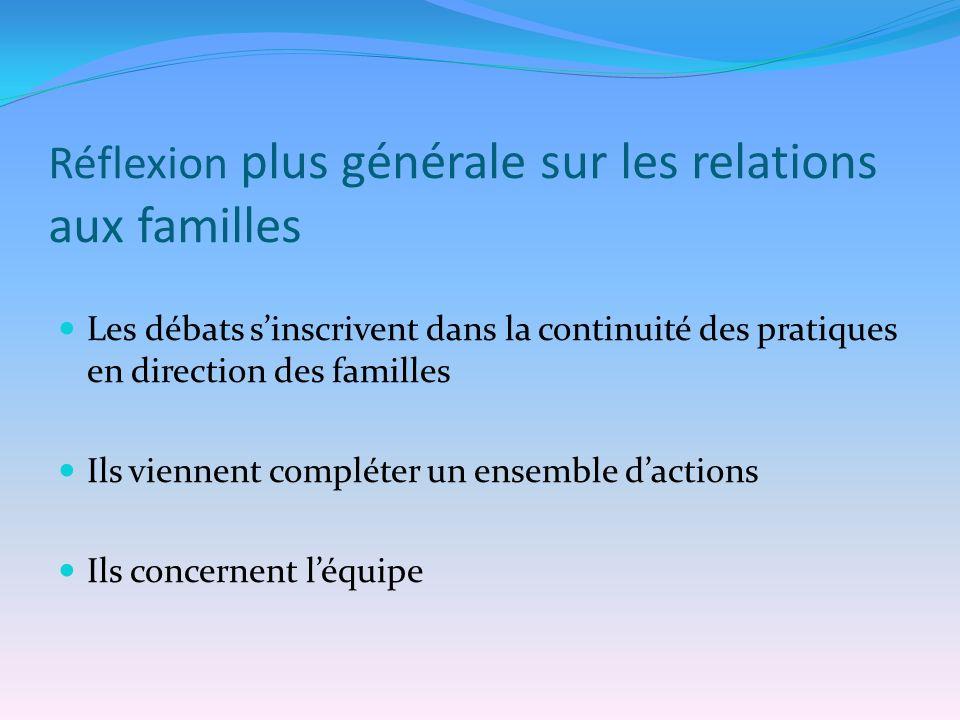 Réflexion plus générale sur les relations aux familles Les débats sinscrivent dans la continuité des pratiques en direction des familles Ils viennent