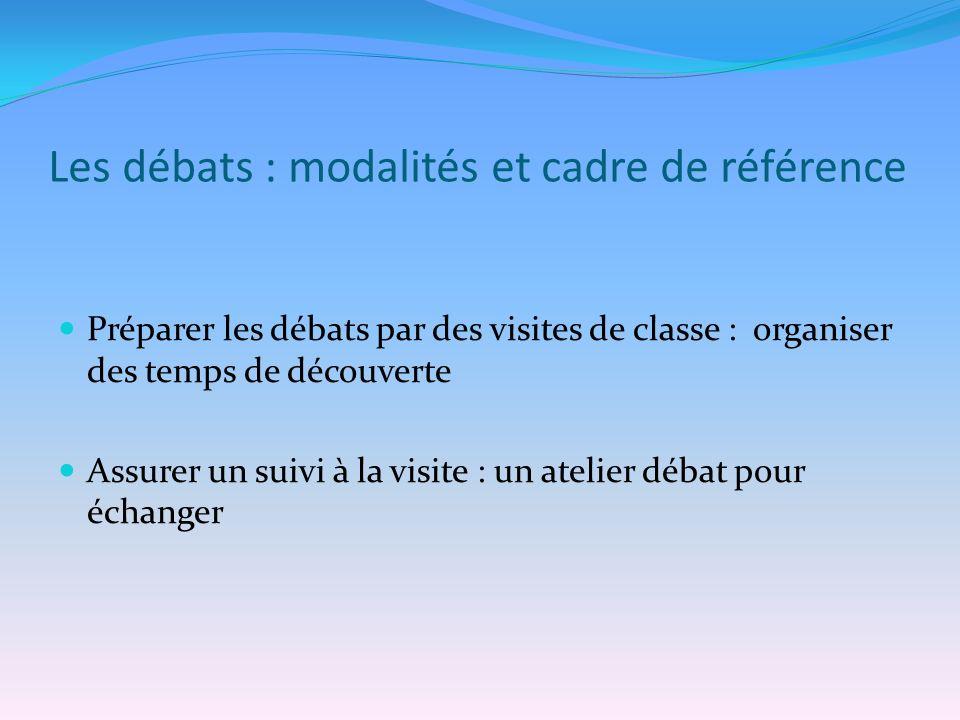 Les débats : modalités et cadre de référence Préparer les débats par des visites de classe : organiser des temps de découverte Assurer un suivi à la v
