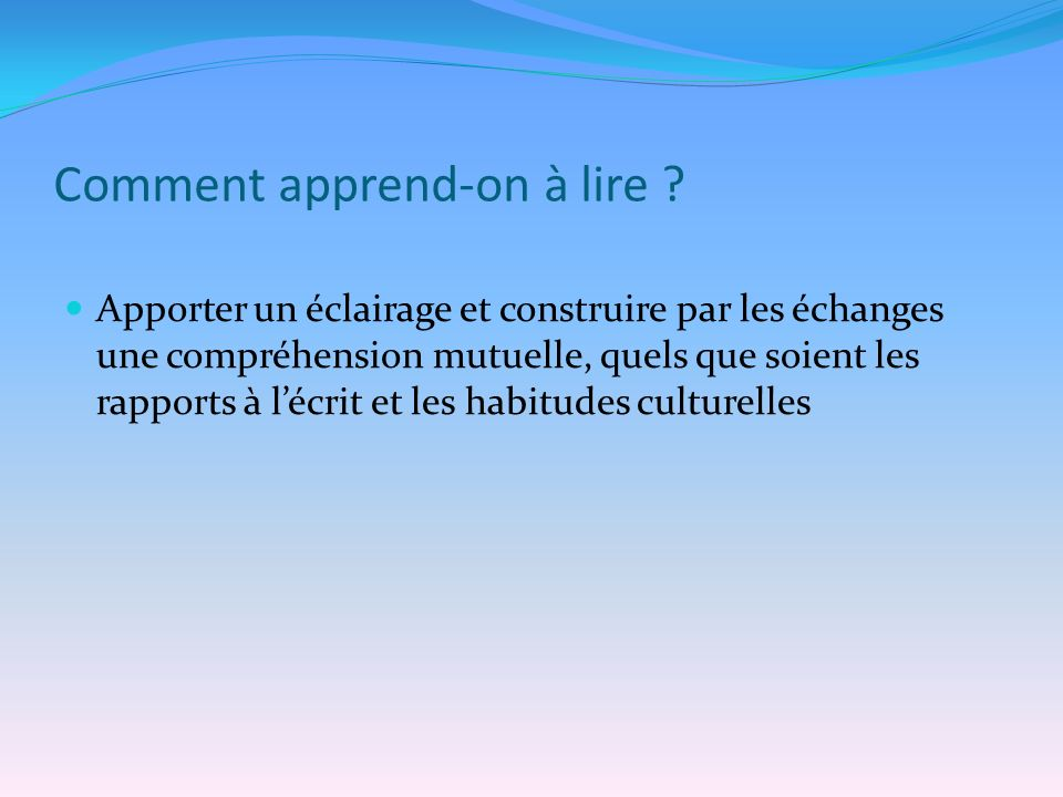 Comment apprend-on à lire .
