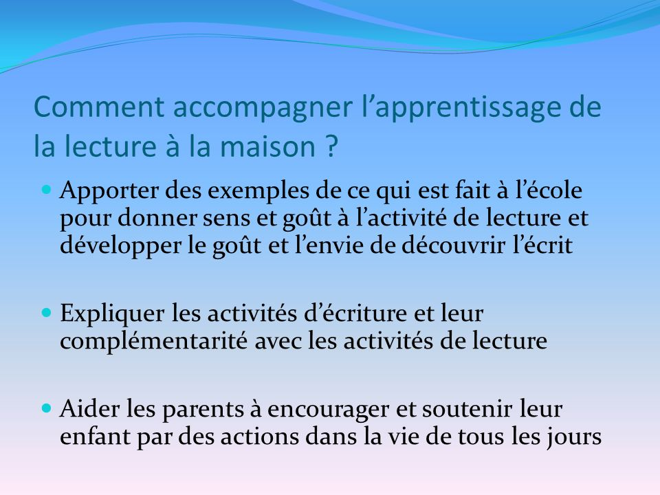Comment accompagner lapprentissage de la lecture à la maison .