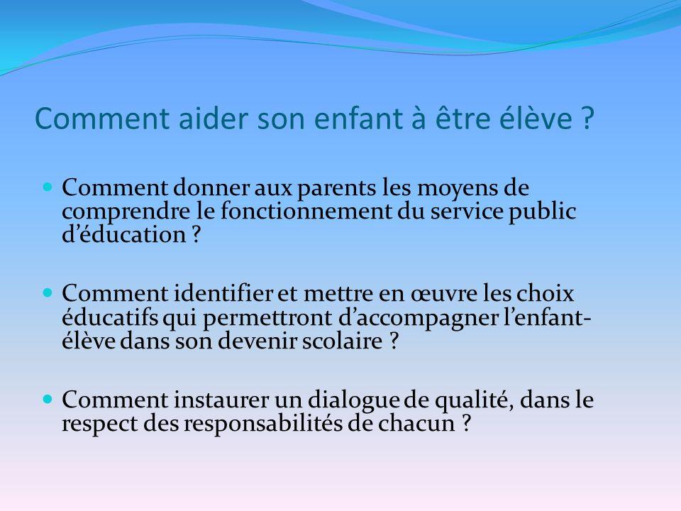 Comment aider son enfant à être élève ? Comment donner aux parents les moyens de comprendre le fonctionnement du service public déducation ? Comment i