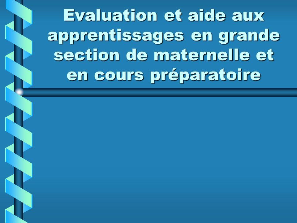 Evaluation et aide aux apprentissages en grande section de maternelle et en cours préparatoire