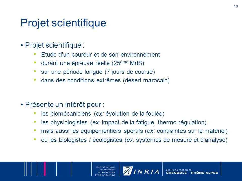 16 Projet scientifique Projet scientifique : Etude dun coureur et de son environnement durant une épreuve réelle (25 ème MdS) sur une période longue (