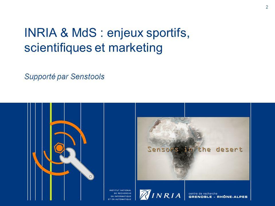2 INRIA & MdS : enjeux sportifs, scientifiques et marketing Supporté par Senstools