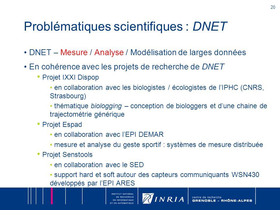 20 Problématiques scientifiques : DNET DNET – Mesure / Analyse / Modélisation de larges données En cohérence avec les projets de recherche de DNET Pro