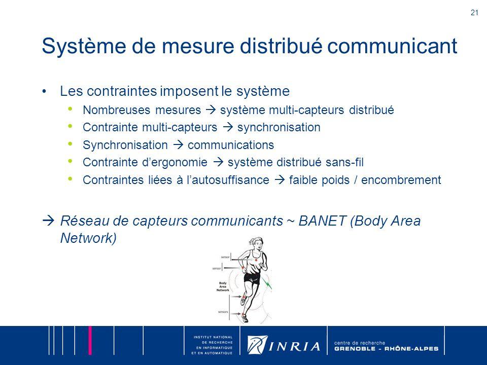 21 Système de mesure distribué communicant Les contraintes imposent le système Nombreuses mesures système multi-capteurs distribué Contrainte multi-ca